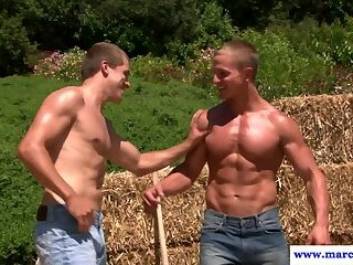 Cock sucking farm hand consumes dick