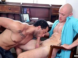 Stress relief gay sex in the office