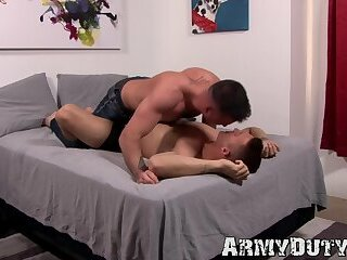 Pale dude bends over and takes a pounding from hung friend
