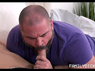 Twink Stepson Needs Help From Bear Stepdad With His Huge Cock