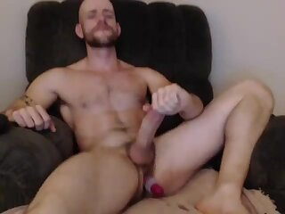 Cute Bald Guy with Big Dick Self Suck and Dildo