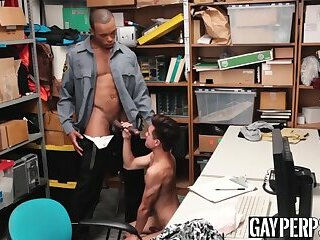 Black dude pounds a cute Latino shoplifter's tight ass hole