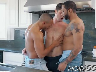 Rich white gay double analled by two black hunky plumbers