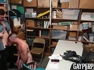 Handsome thief bounces on thick cock and moans while riding