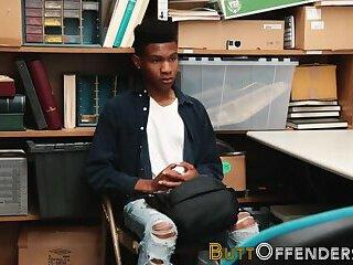 Shoplifting ebony teen gets barebacked