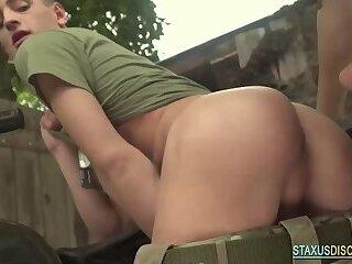 Military european twink rides bareback