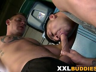 Gay hunk tugging big dick while fucking ass