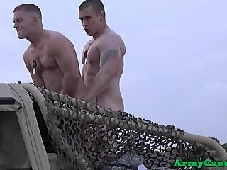 Handsome army stud dicksucking outdoors