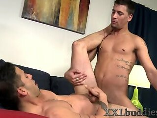 Banged hunk jerks his shlong for cum