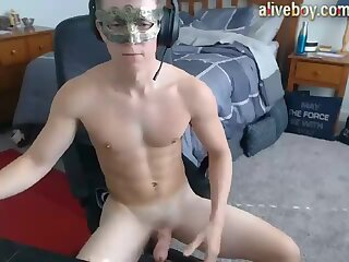 Masked guy jerking off his nice penis