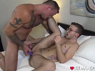 Muscular stud dildo fucking tight FTM pussy after licking it