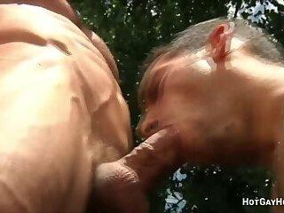 Hot gay action between two musclemen