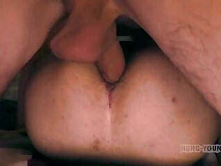 British Lad double barefuck by 2 friends