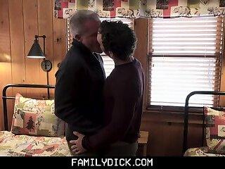 FamilyDick - Stepdad And Step Grandpa Spitroast A Horny Twink