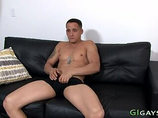 Bulky soldier jerks his dick and cums