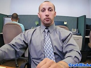 Office stud joins jock to fuck gays ass