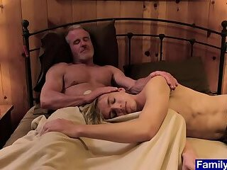 Stepson cant sleep without grandpas cock up his ass