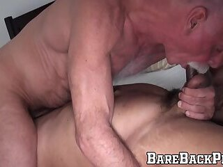 Hairy hunky muscular dude fucks old guy who loves his hair