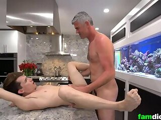 Silver Fox Daddy Bareback Fucks Stepson