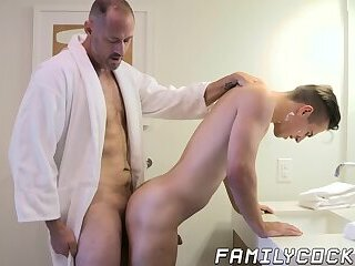 Hung daddy treats stepson with cock during his first shave