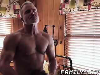 Young gay twink barebacked by muscular stepdad and stepbro
