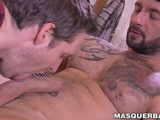 Handsome gay Manuel Deboxer masturbates and gets a blowjob
