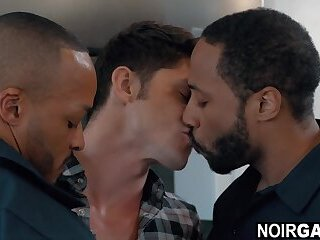 Black plumbers fixing white guy's clogged pipe - interracial gay threesome