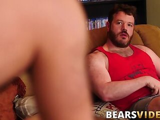 Hot bear Atlas Grant seduces voyeur into bareback 3way