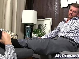 Handsome young gentleman feet worshiped by young homo