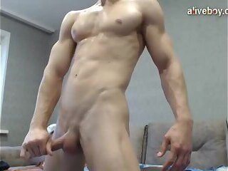 large semen flow From Muscle Hunk stroking
