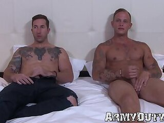 Two tattooed soldiers are bare pounding like never before