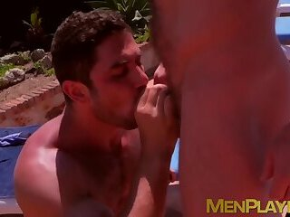 Business partners get naked and dirty by the pool