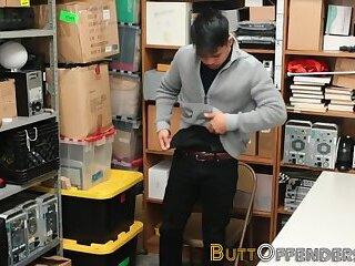 Thieving asian sucks mall cops black shlong