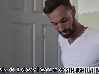 Bearded straight Latino rides cock and takes cum in mouth