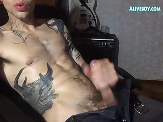 tattooed guy masturbates  solo online