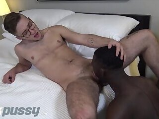 JockPussy - FTM Ari Koyote blows BBC before interracial pounding