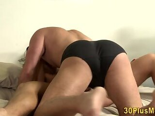 Gay dude tugs cumshot after anal