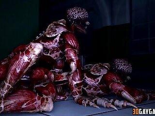 3D gay aliens fucking hard