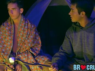 Playful stepbrother pounded raw in front of a camping fire