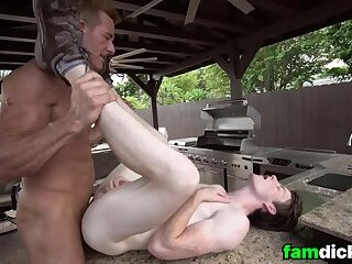 Dad And Stepson Bareback Fucking After Workout