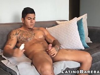 Tattooed Latino with nice dick jerks off while we watch
