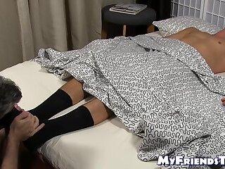Sergey lays back while mature feet worshiper licks his toes