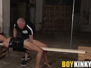 Restrained masked sub twink Axel Rubberax milked for cum