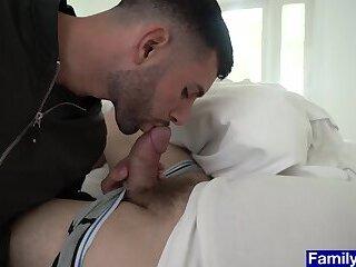 Stepdad asks stepson to help him get rid of his boner