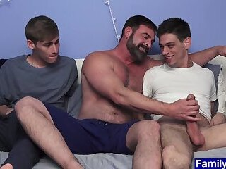 Stepbrothers enjoy threesome anal bonding with stepdad