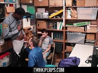 Young Twink Stepson Shoplifter And Stepdad Threesome With Black Guard For No Cops