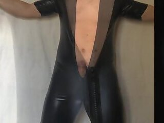 Me in a black suite and an asian cock in my ass
