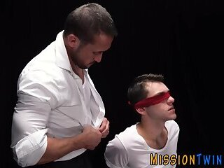 Bound and blindfolded mormon spermed