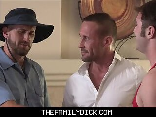 Hunk Stepdad And Family Mailman Take Turns With Jock Stepson