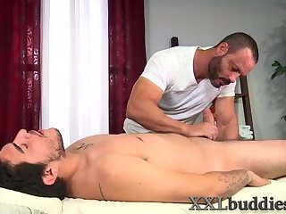 Masseur sucks big cock and gets pounded